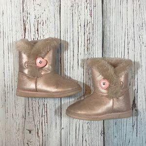 Pink Metallic Faux Shearling Boots Girls Size 9